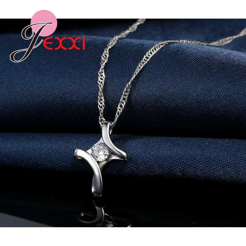 JEXXI Big Promotion Clsssic Elegant Style CZ Crystal Striking Jewelry 925 Sterling Silver Pendant Necklace For Charming Women