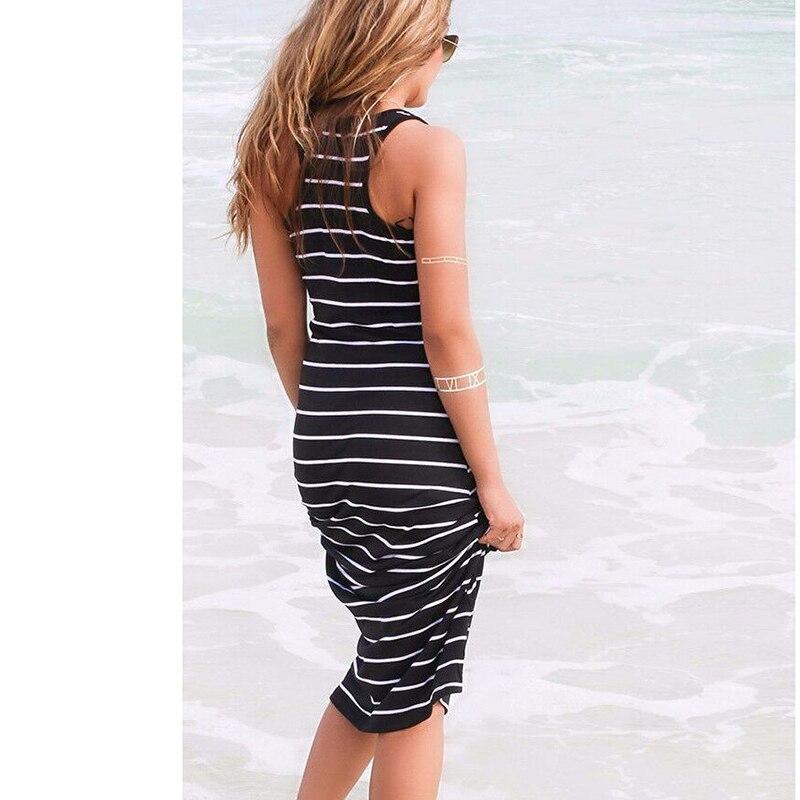 07095706e7b23 Aliexpress.com : Buy Sexy Women Summer Boho Long Maxi Dress Beach  Sleeveless Tank Dresses Plus SIZE Striped Cotton Femme VestidosS M L XL  from ...