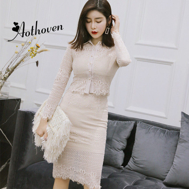 2 Piece Women New Autumn Dresses Turn-down Collar Long Sleeve Elegant Dress Office Sexy Party Vintage Bandage Bodycon Lace Dress