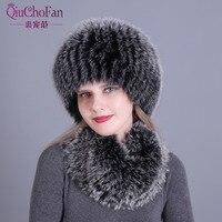 Для женщин меховая шапка шарф набор для зимних натуральный Лисий мех шарф и шапка сплошной цвет 2017 Новый уличной моды стрелять hat и шарф