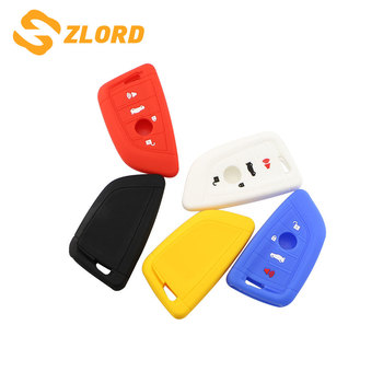 Zlord New Silicone Key Cover Case 4 Buttons for BMW 1 2 5 Series 218i X1 F48 X5 X6 F15 Smart Remote Car Key Case Shell Blank image
