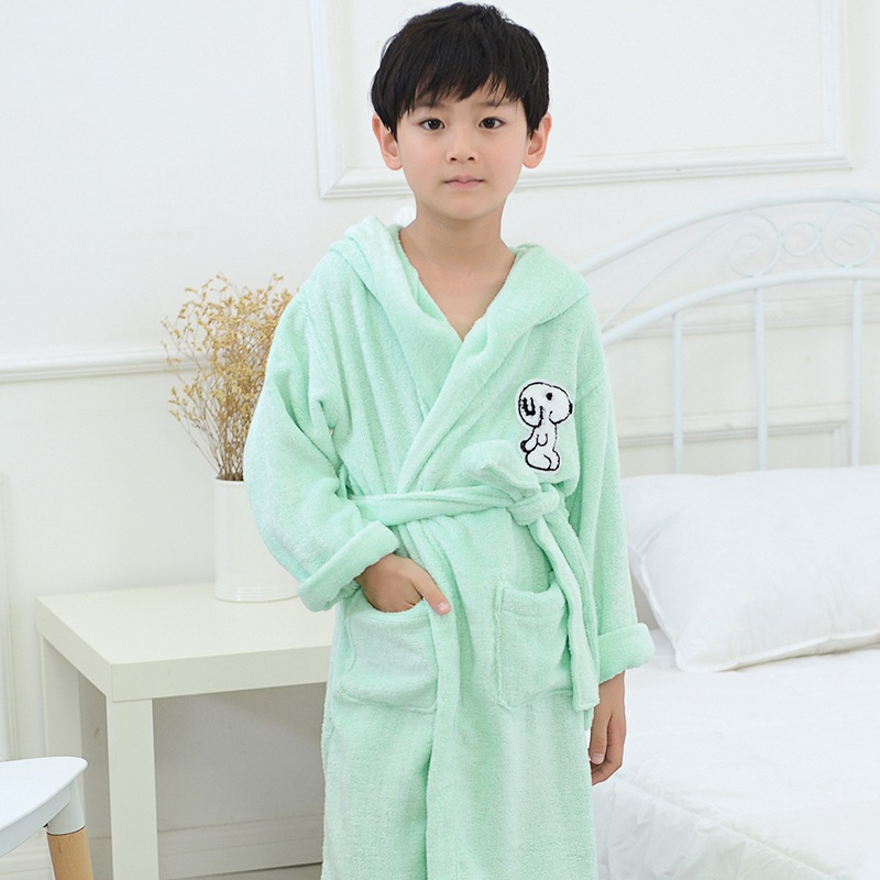 Bamboo Fiber Children Bathrobe Kds Towel Material Cartoon Cap Boys And Girls Bathing Bath Spa Bathrobes Spring Summer Winter Robes Men's Sleep & Lounge