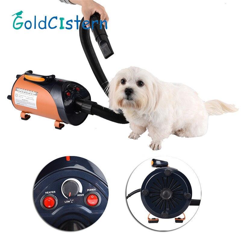 2800 W In acciaio inox Asciugacapelli Con 3 Ugelli per Pet Dog Cat Pet Forza Asciugabiancheria Riscaldamento EU/UK/US 1 PZ Più Nuovo