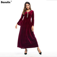 Banulin 2019 Runway Winter Evening Party Dresses Red Velvet Dress Women Long Sleeve Vintage Long Maxi Dresses Vestido Longo Robe