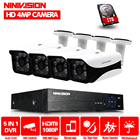 NINIVISION 4mp CCTV Surveillance Kit 4mp Security Camera System 4ch DVR 1080P 2K Video Output Kit CCTV Easy Remote View on Phone
