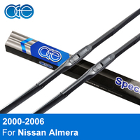 Combo Silicone Rubber Front Rear Wiper Blades For Nissan Almera 2000 2001 2002 2003 2004 2005