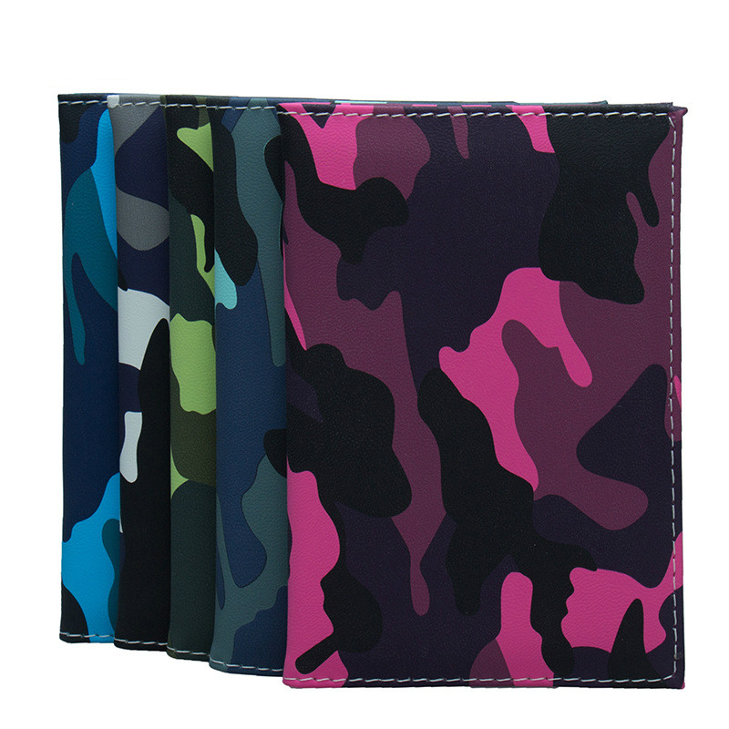 Camouflage Army Genuine Leather Passport Holder Wallet Case Cover for Men Women