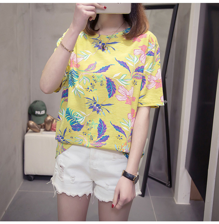Nkandby Flower Print Summer T-shirt For Woman Fashion Casual Short sleeve Ladies Tshirt 2019 New Bamboo Plus size Basic Tops 4XL 21