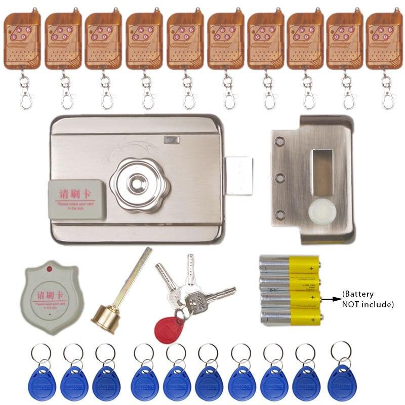 No Wiring Electric rim lock for Metal Door Gate Electric Door Lock Opener 125KHZ RFID Card
