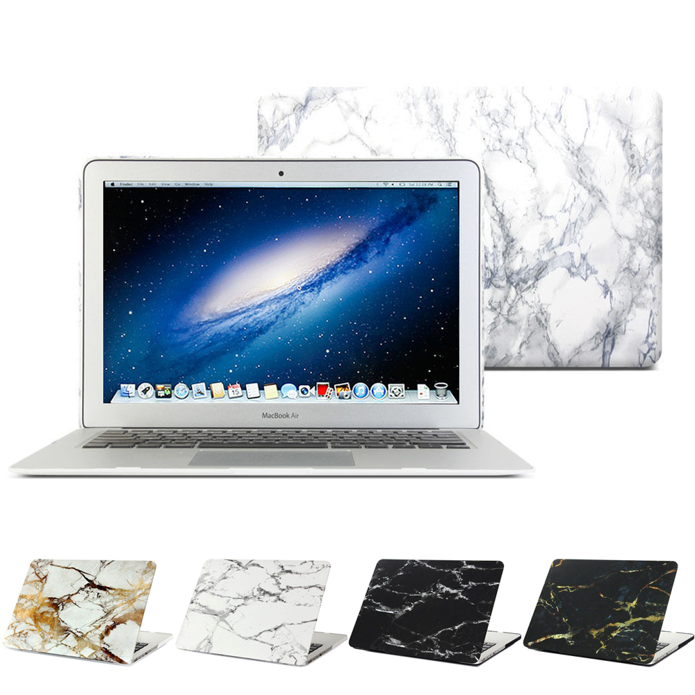 GOOYIYO - Laptop Case Hard PC Marble Shell Protective Cover For Macbook Air Pro Retina 11 13 15 & Screen Protector & Dust Plug