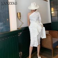 Women Set Women Skirt Sets Irregular Long Sleeve White Cotton Shirt High Waist Ruffle Long Skirts 2piece Set Women Z112