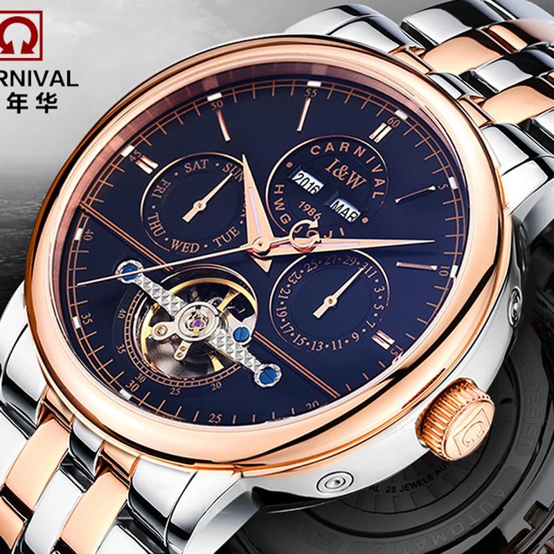 цена на Luxury tourbillon watch men Sapphire silver stainless steel Date Week Automatic machine watch relogio masculino