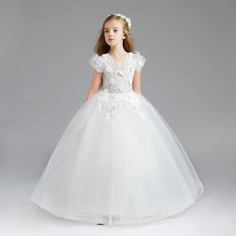 2018 Spring New Lace Flowers Girl Dresses Birthday Party Pageant Communion Dress Little Girls Kids/Children Dress for Wedding купить