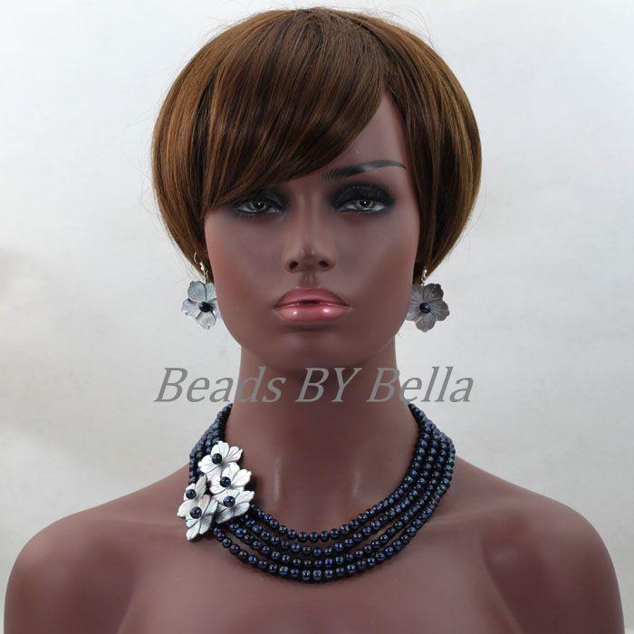 Élégant fête cadeau mode Costume perle bijoux ensembles femmes noir perle collier boucles d'oreilles Bracelet cadeau ensemble livraison gratuite ABL324