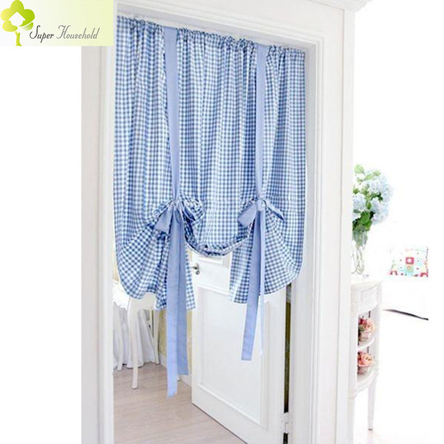 Kitchen Short Curtains Plaid Roman Blinds Door Curtain Pelmet Liftable Window  Curtains For Living Room Balcony