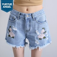 High Waist Denim Shorts Plus Size XS 2XL Flower Embroidery Female Short Jeans For Women 2019 Summer Ladies Hot Shorts Free Ship