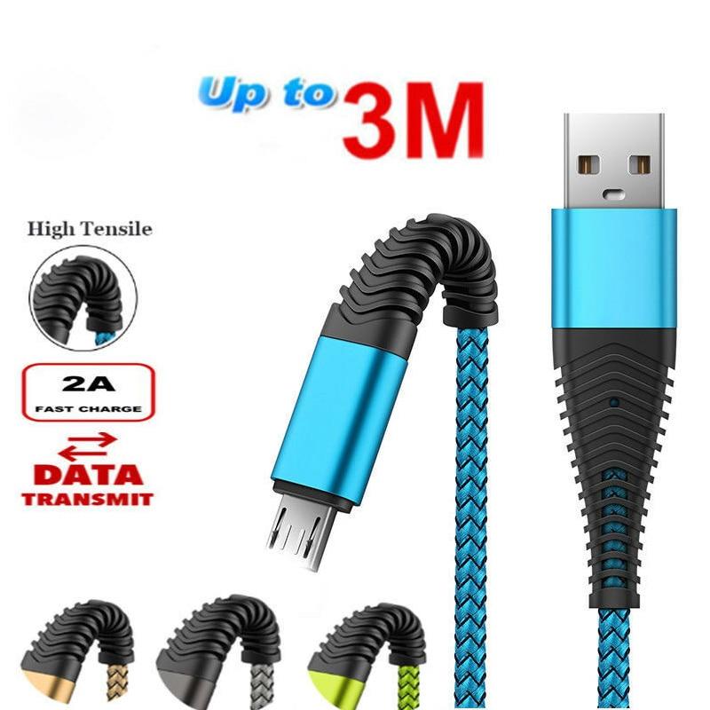 1 м 2 м 3 м микро USB кабель для быстрой зарядки телефона для samsung S4 S5 S6 S7 Edge для samsung Galaxy A3 A5 A7