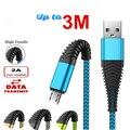 Кабель Micro USB для быстрой зарядки и передачи данных телефона, 1 м, 2 м, 3 м, для Samsung S4, S5, S6, S7 Edge, Samsung Galaxy A3, A5, A7, Xiaomi