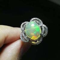 Romantic Fashion Rings For Women Unique Flower Shape Natural Opal Stone 925 Sterling Silver Wedding Rings Size 7