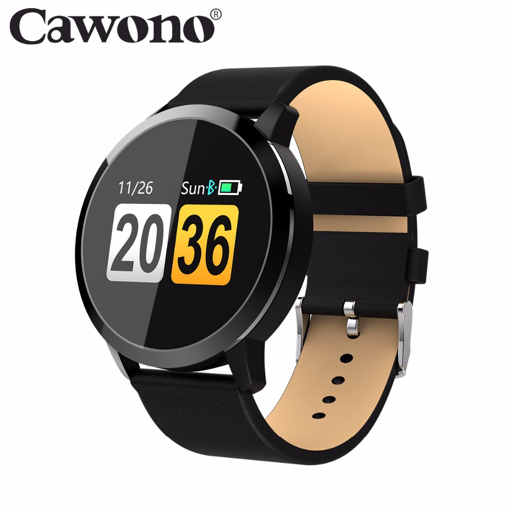 Cawono Q8 reloj inteligente Color OLED pantalla táctil del Monitor de ritmo cardíaco rastreador de Fitness presión dispositivos para Android IOS