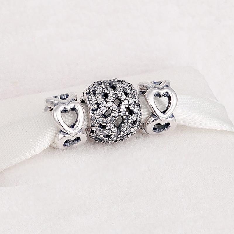 Fits-Pandora-Bracelets-925-Sterling-Silver-Jewelry-CZ-Stones-Open-Heart-Three-Beads-DIY-Making-Fine