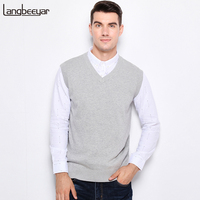 New Autumn Winter Fashion Brand Clothing Pullover Mens Sweaters V Neck Sleeveless Vest Slim Fit 100