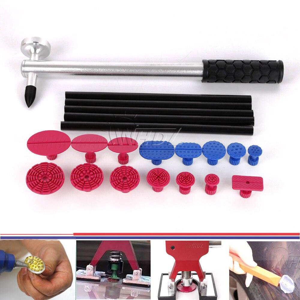 WHDZ PDR Dent grêle marteau et rouge bleu en plastique Auto Dent réparation onglets colle extracteur onglets pour voiture Dent outils
