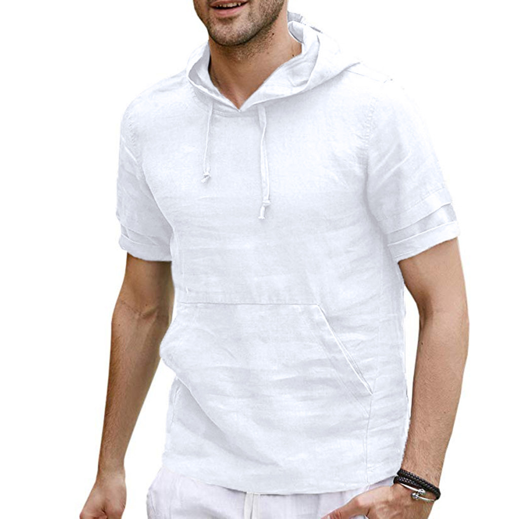 2019 Summer Cotton Linen Shirt Men's Short Sleeved Hooded Shirts Cool Shirt European Size Loose Shirts High Quality Z0521