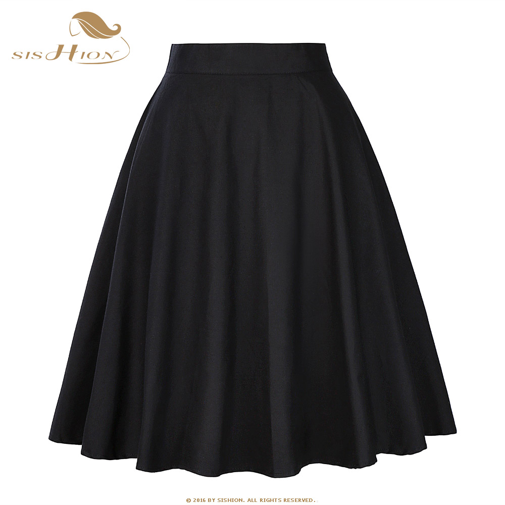 SISHION Cotton Black Skirt Womens Sexy Midi Skirt Floral Polka Dots Black  Red Blue Plus Size. Mouse over to zoom in 88da441e5ad2