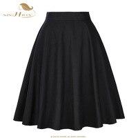 SISHION Skirts Womens Sexy Midi Skirt Floral Print Polka Dot Black Red Blue Plus Size Summer