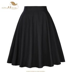 Image 1 - SISHION 코튼 블랙 스커트 여성 섹시한 미디 여름 스커트 플로랄 폴카 도트 블랙 레드 블루 플러스 사이즈 하이 웨스트 체크 무늬 여성 스커트