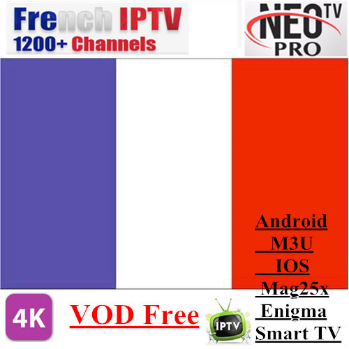 Promotion Neotv pro French Iptv subscription Live TV VOD Movies channels French Arabic UK Europe Neo one year Smart TV mag box