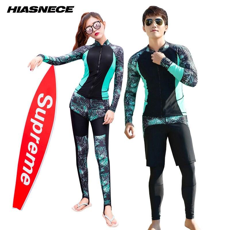 HIASNECE Couple Sport Surf natation costume 3 pièces/ensemble manches longues + pantalon + short Patchwork 2018 nouveaux Couples maillots de bain rashguard