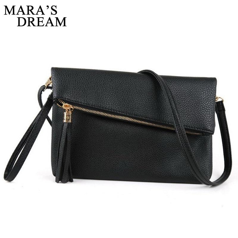 Mara's Dream 2018 Women Messenger Bag PU Handbags Zipper Solid Famous Brands Shoudler Clutch Bags Bolsa Feminina