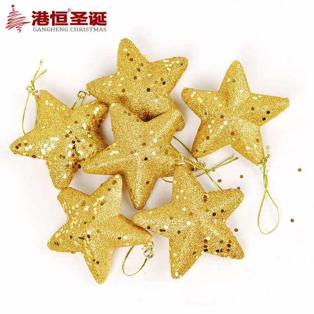6pcs Lot Christmas Tree Decorations Gold Glitter Stars Ornaments For House Xmas Noel