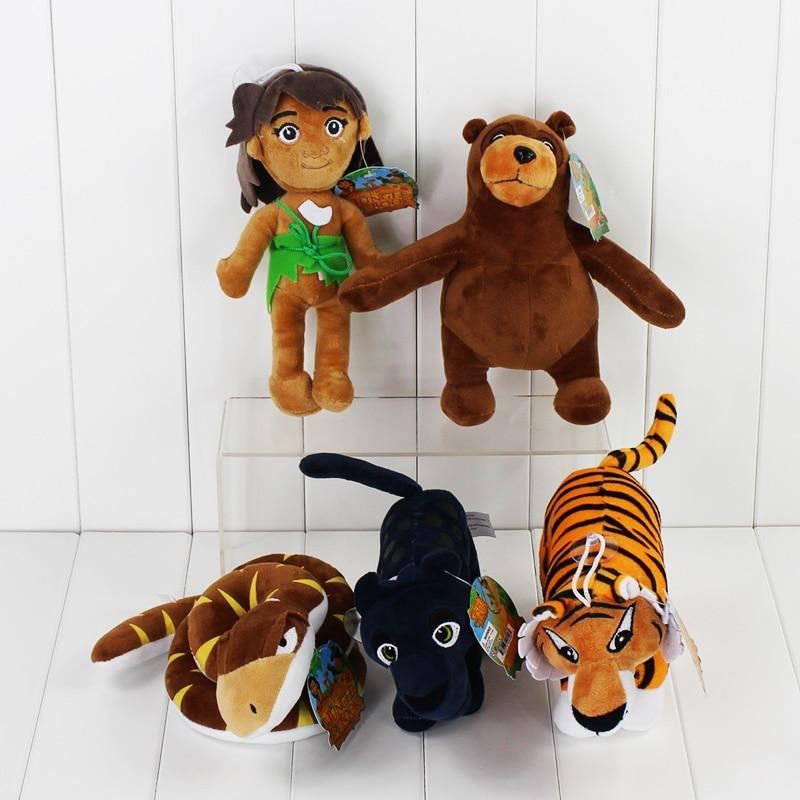 5pcs/lot The Jungle Book Plush Toys Cartoon Movie Models Mowgli Tiger Snake Bear Leopard Soft Stuffed Dolls 8.5-22cm