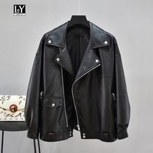Ly Varey Lin 2019 imitación de cuero suave chaqueta Collar Casual abrigo de cuero  motocicleta remache Mujer prendas de Vestir ex. 30559f13663f
