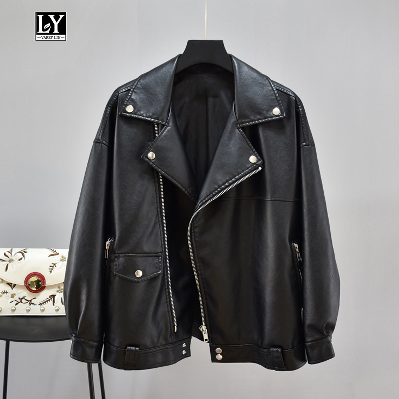 Ly Varey Lin 2019 Faux Soft   Leather   Loose Jacket Turn-down Collar Casual   Leather   Coat Motorcycle Zipper Rivet Female Outerwear