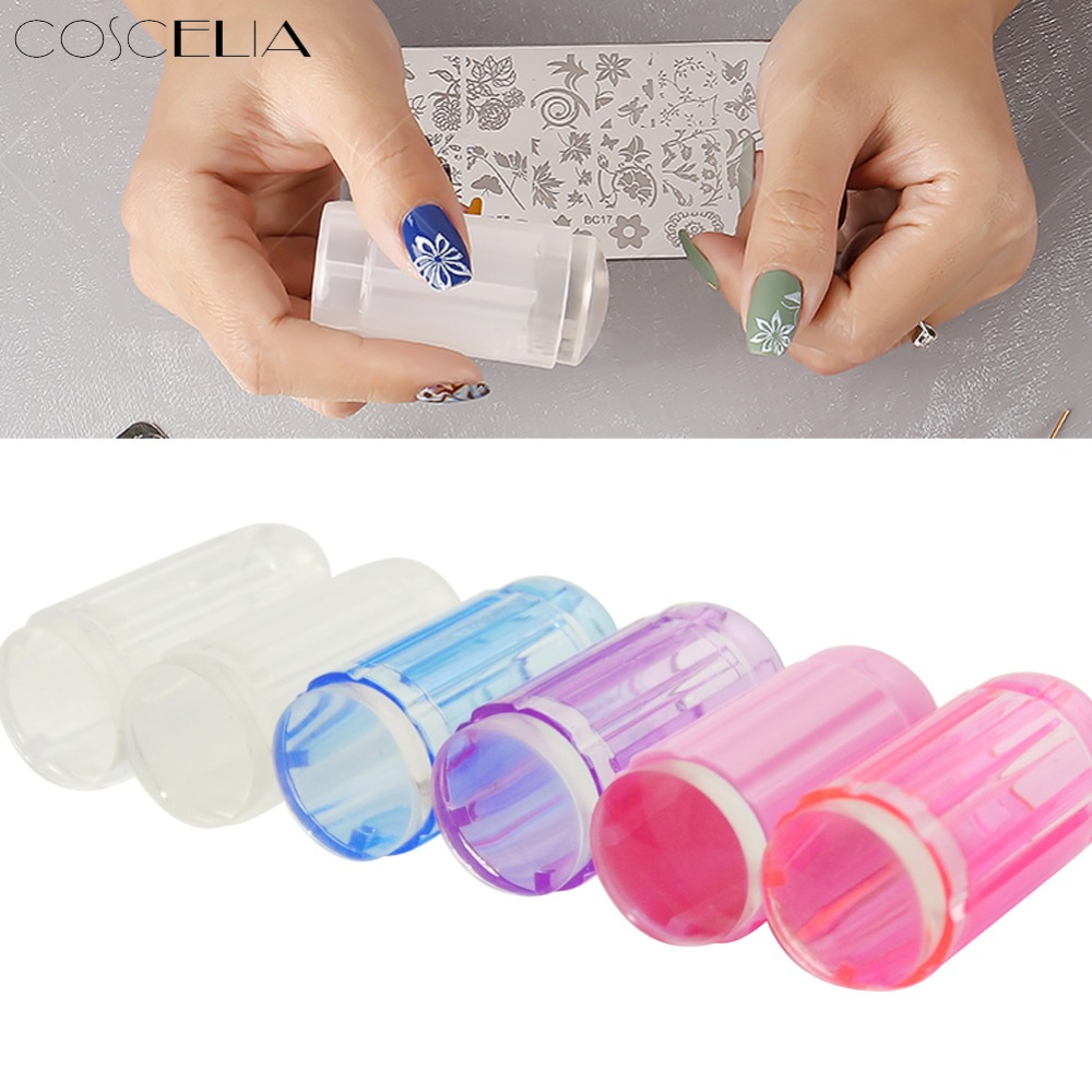 COSCELIA Clear Silicone Stamper Transparent Jelly Nail Stamping Stamp Scraper Set Polish Print Transfer Manicure Template Tool