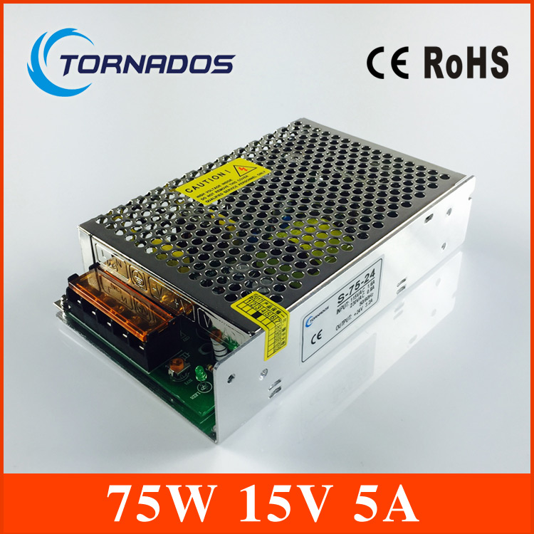 (S-75-15) Factory outlet ! 75W single output ac dc 15V 5A switching power supply for Led lights CE ROHS approved(S-75-15) Factory outlet ! 75W single output ac dc 15V 5A switching power supply for Led lights CE ROHS approved