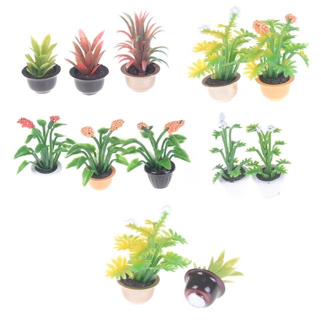 2 Pcs Mini Jardin Maison De Poupée Miniature Pot De Fleur Plante 1:25 Maison