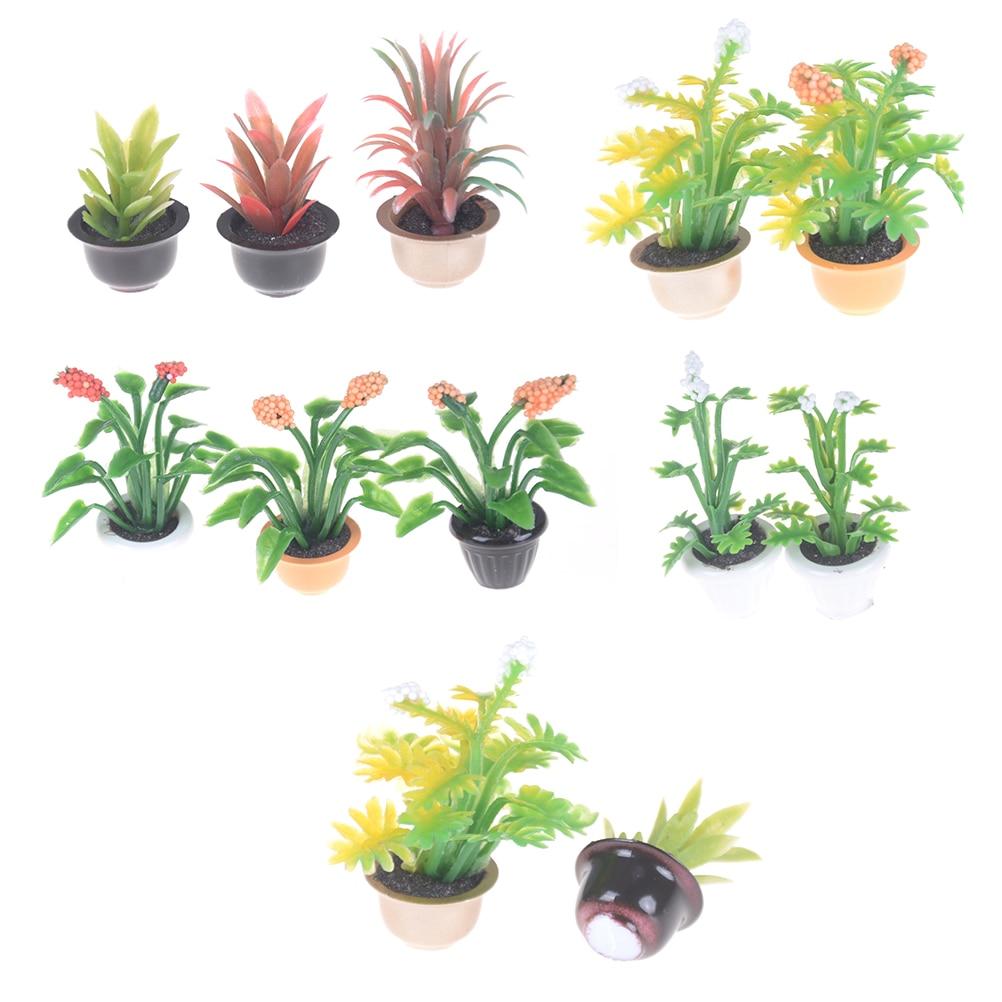 2pcs Mini Garden Dollhouse Miniature Flower Pot Plant 1:25 Doll House Miniatures Accessories Model Home Office Decor