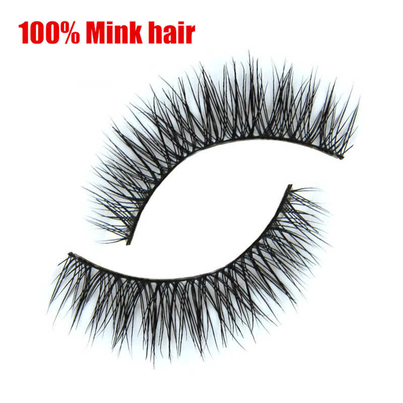 Free shipping 2pairslot 100% handmade real Mink hair fake eyelashes Natural long crossing eyelash extension makeup