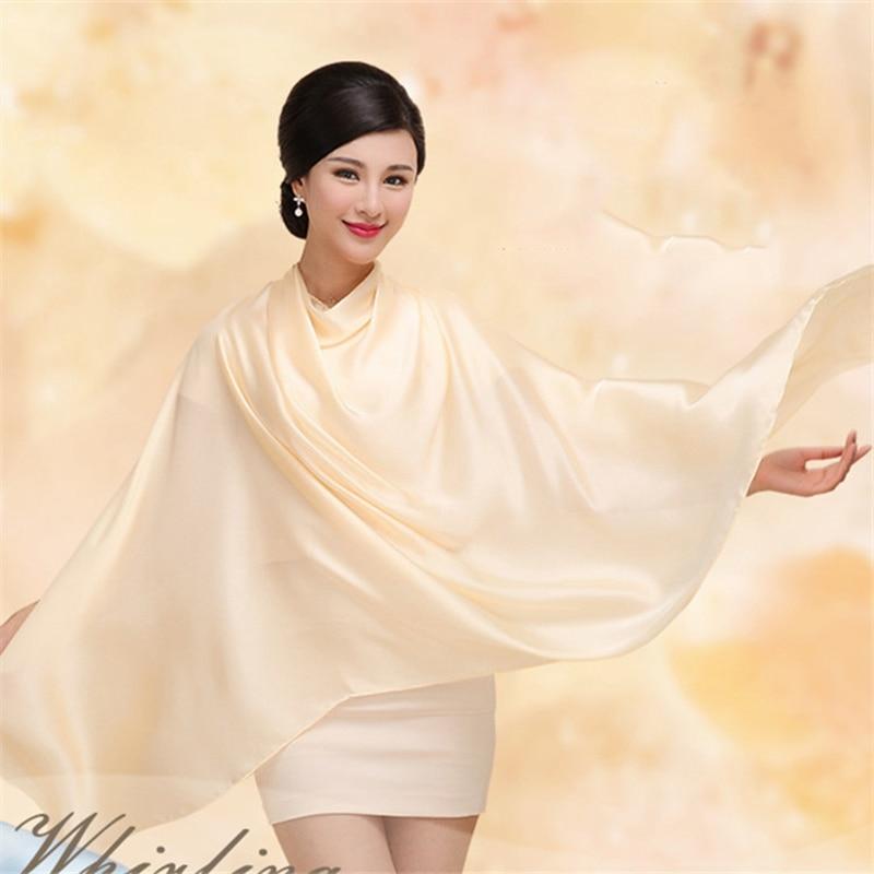High Quality Women Fashion 2019 Silk Scarves Women Solid Foulard Femme Shawls Wraps Silk Bandana Hijab Scarf Beach Poncho in Women 39 s Scarves from Apparel Accessories