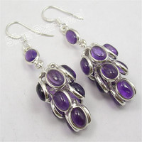 .925 Silver AMETHYSTS GRAPES LONG Dangle Earrings 5.7CM Variation