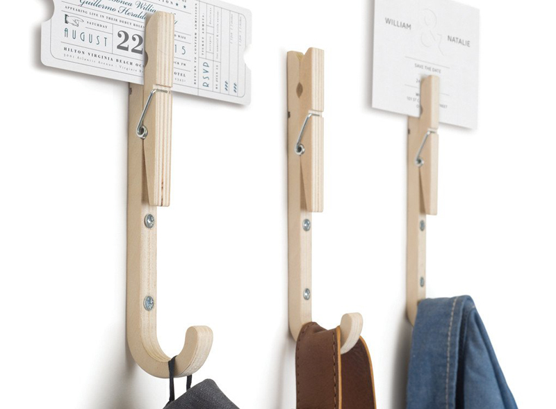 aliexpresscom buy creative stylish wooden wall hook with spring clip design memo photo letter holder laundry hanger home decor magnetic robe hook from - Stylish Wall Hooks