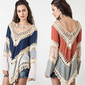 Women's Sweater Fashion 2015 Autumn Pullover Womens Capes And Ponchoes Backless Hollow Out Pull Bohemia Womens Jumpers C188
