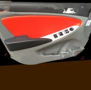 Image 2 - 현대 솔라리스/베르나 2010 2014 용 4 pcs 고품질 마이크로 화이버 전면/후면 도어 패널 가죽 커버 보호 트림