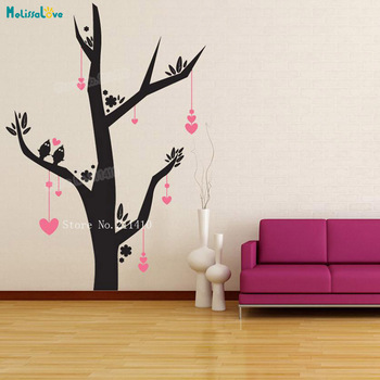 Tree Wall Decals For Living Room | Nursery Decals Dangling Heart Tree Wall Sticker Home Decoration For Living Room Self-adhesive Vinyl Art Murals Gift YT232