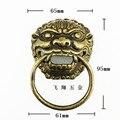 65 mm antigo chinês aldrava de porta de cobre lidar Shoutou pequena cabeça de leão de bronze puxadores e alças móveis alça